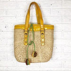 LUCKY BRAND Tote bag | corn husk & patent